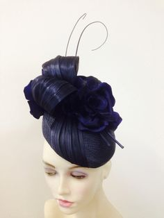 Navy parasisal and silk abaca fascinator by millinery by miss Lauren