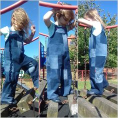 Denim Dungarees, Overalls, Spiral Crochet, Jeans Refashion, My Little Girl, After Dark, Pretty Cool, Diy Clothes, Recycling