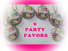 6 I LOVE SKATING roller skates birthday party favors bottlecap necklaces or keychains for goody loot bags. $11.99, via Etsy.