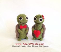 The Love Turtles  AdoraWools Needle Felted Cake by AdoraWools, $80.00
