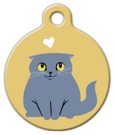 This design features an illustration of a lilac colored Scottish Fold cat  on a mustard yellow background and a little white heart. Originally  seen in Lili Chin's CATS OF THE WORLD art print.
