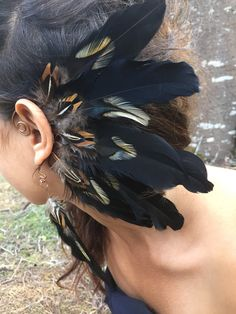 Ear cuff / feather ear cuff / feather head piece / feather extension / festival head piece / burning man festival / feather earrings / gift  Ear wing! to