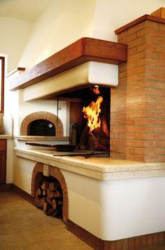 caminetto tradizionale su misura con forno per la pizza gover-srl Pizza Oven Fireplace, Farmhouse Fireplace, Fireplace Hearth, Outdoor Kitchen Design, Patio Design, Parrilla Exterior, Fire Pit Bbq, Carpentry And Joinery, Outdoor Stove