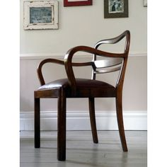 1930s Antique Leather Partners Chair / Desk Chair