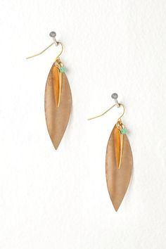 Gold Leaf Earrings with Gold Point and Green Focal Bead from Deuce on Etsy. $24