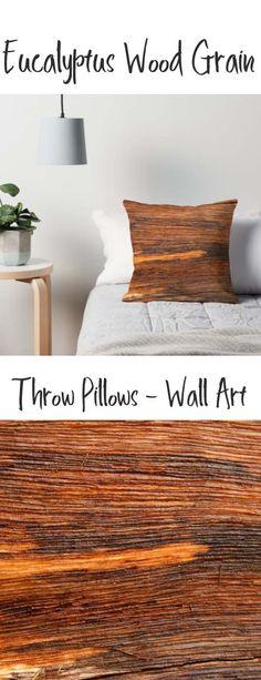 A throw pillow with a Eucalyptus wood grain design. Buy it here: https://www.redbubble.com/people/rhamm/works/21984274-wood-grain-in-eucalyptus?asc=u&grid_pos=20&p=throw-pillow&rbs=b47f577e-8d50-457a-ba58-860f39d72b01&ref=artist_shop_grid