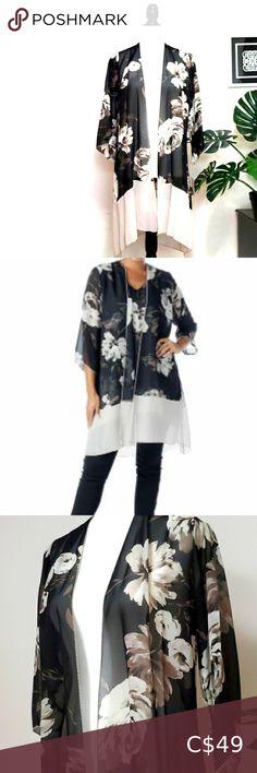 Check out this listing I just found on Poshmark: Chiffon Topper NWT Made in Canada. #shopmycloset #poshmark #shopping #style #pinitforlater #Marallis #Tops Plus Fashion, Fashion Tips, Fashion Trends, Front Design, Hemline, Kimono Top, Chiffon, Stylists, Canada