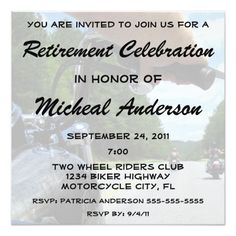 Shop Custom Motorcycle Retirement Celebration Party Invitation created by TLCGraphix. Personalize it with photos & text or purchase as is! Bagger Motorcycle, Motorcycle Tips, Motorcycle Style, Motorcycle Design, Retirement Celebration, Retirement Party Invitations, Custom Invitations, Invites, Custom Baggers