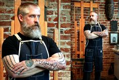 Aaron Smith gets formal in the studio in his new apron. http://www.knifeflag.com/store/splitlegdenim