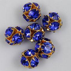 5.5mm Sapphire/Gold Rhinestone Ball Bead RTD096 by GeneralBead (Craft Supplies & Tools, Jewelry & Beading Supplies, Beads, Round & Ball Beads, Metal Bead, set stones, rhinestone ball, sparkle, general bead, 6mm, sapphire, blue, gold)