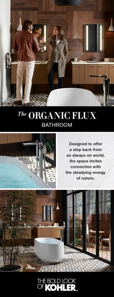 With a private courtyard just beyond a floor-to-ceiling glass wall, the master bath draws on the natural world to reflect a sense of calm and serenity. Discover the Organic Flux Bathroom.