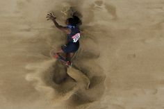 Brittney Reese of the U.S. competes during the women's long jump final at the IAAF World Championships in Daegu, South Korea.  August 2011