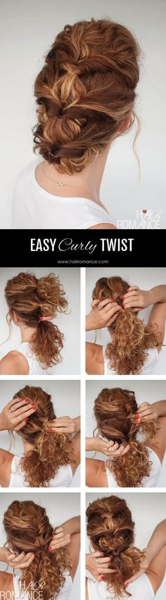 Hair Romance - Everyday curly hairstyles - twisted updo curly hair tutorial Haare Frisuren Easy everyday curly hairstyle tutorial - The curly twist Natural Hair Styles, Short Hair Styles, Braid Styles, Frizzy Hair Styles, Curly Hair Styles Easy, Wedding Hairstyles Tutorial, Hairstyle Tutorials, Makeup Tutorials, Makeup Ideas