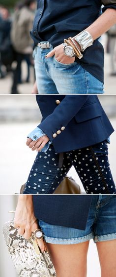 lovin' the arm candy, blazer layered over a denim shirt, and the stitching on those shorts