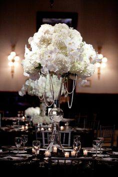 """Kristi & Dan's Elegant """"Glitter and Lace"""" Wedding Tall White floral centerpieces with draping pearls and crystals. Flora Fetish"""