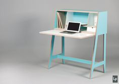 A Wired Desk That's Built Into A Cabinet - Design Milk. And it is Perfect for the knowledge area. Design Furniture, Plywood Furniture, Office Furniture, Modern Furniture, Home Furniture, Office Desk, Folding Desk, Built In Cabinets, Modern Desk