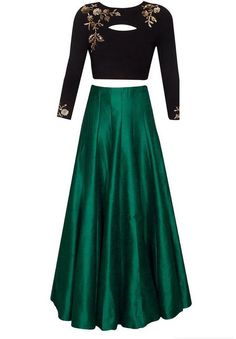 Black and dark green embroidered skirt top by IVbyDivyaSnigdha