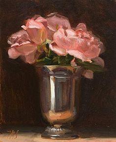roses in silver vase