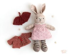 Amigurumi teddy bear toy Ella a knitted stuffed plush bunny animal with clothes Crochet Numbers, Little Cotton Rabbits, Teddy Bear Toys, Bunny Outfit, How To Start Knitting, Bunny Plush, Child Love, Plush Animals, Cuddling