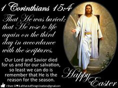 He's risen! Alleluia! Please don't forget the sacrifice that Jesus made for us and why we celebrate it. Happy Easter everyone!