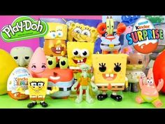 Spongebob Squarepants Full Pop Figure Set + Play Doh Eggs Kinder Surprise Egg Disney Cars Toy Club
