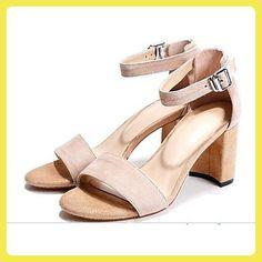 LvYuan-ggx Damen High Heels Komfort Nubukleder Sommer Normal Komfort  Schwarz Rosa Mandelfarben 7,