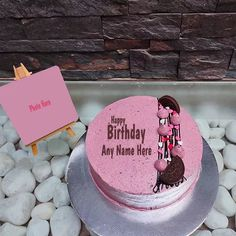 Birthday Three Layer Cake Image With Name And Photo Birthday Cupcake Images, Heart Birthday Cake, Happy Birthday Cake Photo, Happy Birthday Cake Pictures, Special Birthday Cakes, Birthday Photo Frame, Birthday Cake With Candles, Happy Birthday Greetings Friends, Happy Birthday Wishes Photos