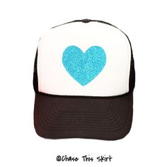 Sparkle Heart Trucker Hat in Black and Blue