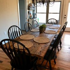Reclaimed Farmhouse Table with Grey Stain Primitive Dining Rooms, Farmhouse Dining Room Table, Dining Tables, Reclaimed Timber, Salvaged Wood, Boho Living Room, Dining Room Design, Sweet Home, Room Decor