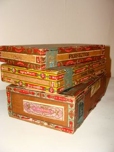 Set of 3 Vintage Wooden Cigar Boxes Gorgeous Trinket by studio180, SOLD
