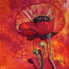 """""""Poppy on Red"""" par Marcia Baldwin"""