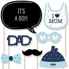 Big Dot of Happiness Hello Little One - Blue and Silver - Boy Baby Shower Photo Booth Props Kit - 20 Count Baby Shower Photo Booth, Baby Shower Photos, Boy Baby Shower Themes, Baby Shower Cupcakes, Baby Shower Gender Reveal, Baby Shower Games, Baby Shower Parties, Baby Boy Shower, Baby Shower Decorations