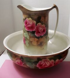 ANTIQUE LARGE WATER PITCHER  WASH BASIN  ADEN HP ROSES.