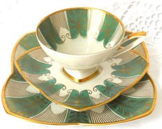 Alka tea cup trio vintage tea set Bavaria porcelain tea cups tea trio german teacup Alka retro tea cup 86