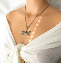 big dragonfly jewelry, dragonfly necklace, nature jewelry dragonfly pendant, insect jewelry animal bug