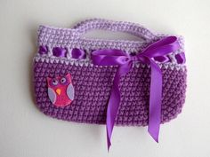 Purple and Pink Owl Crocheted Purse by stayhomecupcake on Etsy, $12.00