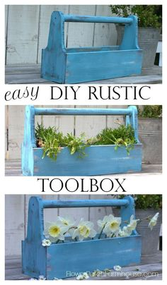 DIY Rustic Toolbox tutorial. Create a fun toolbox caddy to hold just about anything, mason jars, potted plants, glass, utensils, or even pumpkins! They make great centerpieces too. Or just use it as a real tool box!