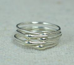 Unique Silver Stacking Ring(s),Silver Rings,Hippie Rings, Boho Rings, unique rings for her, Dew Drop Rings, Thin Silver Ring, bohemian rings by Alaridesign