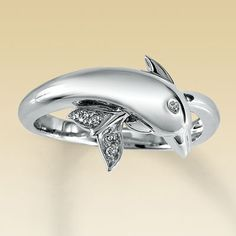 10K White Gold Diamond Dolphin Ring