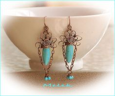 Flower Burst Copper and Turquoise Earrings by MelekDesigns on Etsy, $28.00