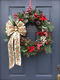 Classic Christmas Wreath Holiday Door Wreaths by WreathsByRebeccaB