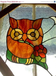 Sale Stained Glass Owl Window - Vintage Art in Wood Frame