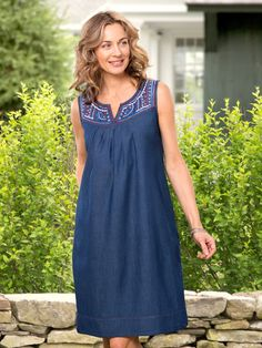 Cotton Chambray Patio Dress: Soft and lightweight, this 100% cotton chambray patio dress is always at the ready as you just throw it on and go.