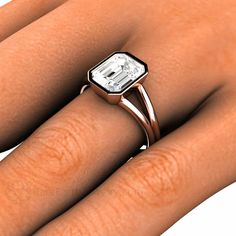 White Sapphire Engagement Ring - Emerald Cut Bezel Set – Rare Earth Jewelry
