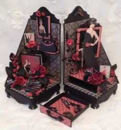 G45 Couture bookends with mini albums and magnetic bookmark hats in the drawer - Anne Rostad