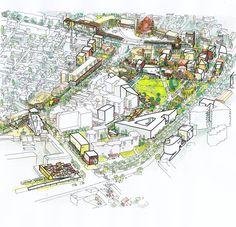 Masterplan Korça City Centre / Bolles Wilson KORCA_comp_sk_aerial 01 – ArchDaily