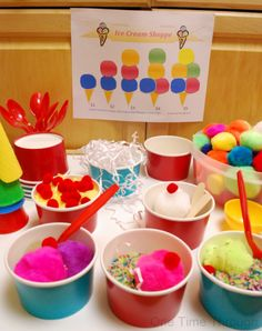 PomPom Ice Cream Shoppe Sensory Play - One Time Through Dramatic Play Themes, Dramatic Play Area, Dramatic Play Centers, Play Ice Cream, Ice Cream Theme, Ice Play, Play Based Learning, Learning Through Play, Prop Box