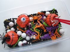 "Halloween Sensory Tub For Multiple Ages. This is great, and our ""Fish Stick Chopsticks"" we sell make great manipulative grabbing tools!"