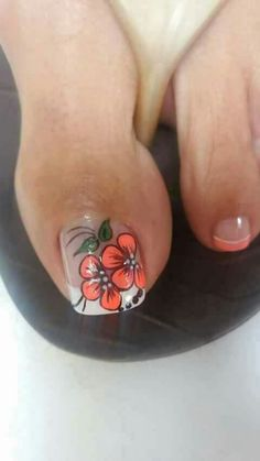 Toenail Art Designs, Flower Nail Designs, Pedicure Designs, Pedicure Nail Art, Toe Nail Designs, Toe Nail Art, Nails Only, Feet Nails, Flower Nails