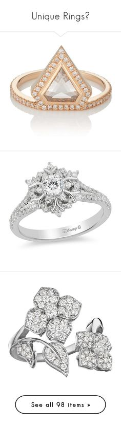 """Unique Rings💍"" by moon-crystal-wolf ❤ liked on Polyvore featuring jewelry, rings, rose, eva fehren ring, 18k jewelry, polish jewelry, rose jewelry, band rings, snowflake jewelry and sparkly engagement rings"